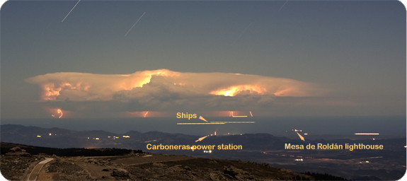 Storm in Algeria, across the Mediterranean, as seen from the Observatory of Calar Alto, in Southern Spain (credir F. Hormuth)
