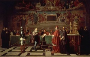 The abjuration of Galileo Galilei before Roman Inquisition,  June 22nd of 1633, according to a picture of century XIX painted by Joseph-Nicholas Robert-Fleury.