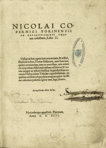 "Cover  of ""De Revolutionibus Orbium Coelestium"" (On the movement of the celestial spheres),  by Nicholas Copernicus, in the 1543 edition."