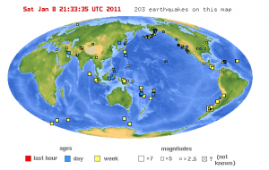Earthquakes stronger than 4.5 during the last seven days. Source: USGS