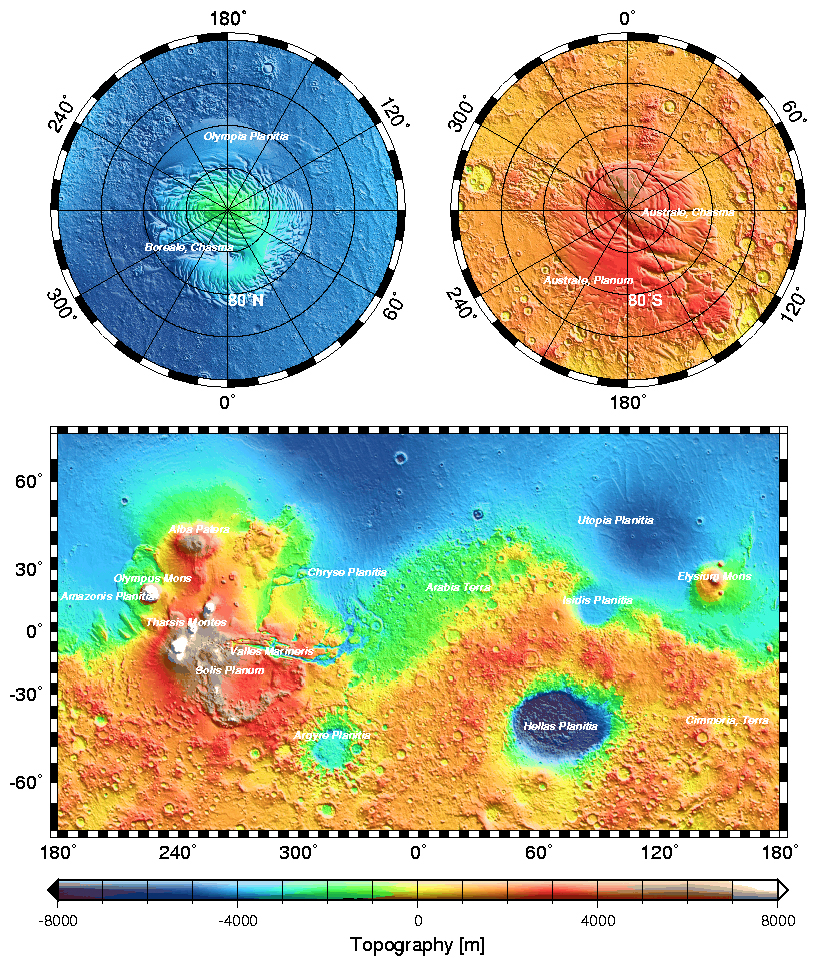 Diagram showing the topography of Mars, whose minimum (deep blue) and maximum heights (red-white) are found in a range of 16,000 kilometers. Note that Olympus Mons, the highest mountain in the Solar System, soars to a height of 21 kilometers above the level at which the pressure of the atmosphere is 6.1 millibar (the pressure at which the triple point of water is located), and which is called Mars datum (equivalent to the sea level on the Earth). Since the lowest point is found in Hellas Planitia (an old impact crater), at around 7 kilometers below the Mars datum, the difference is about 28 kilometers, significantly greater than the 18 kilometers that separate the depths of the Mariana Trench and the summit of Mount Everest. Credits: Mars Orbiter Laser Altimeter and NASA.