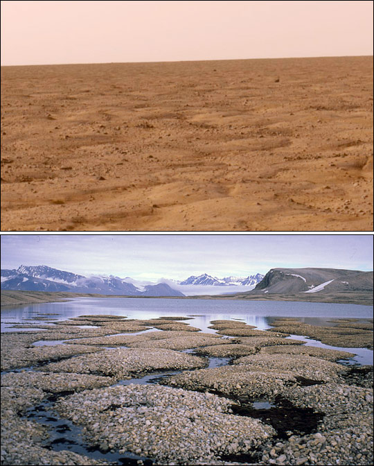 A comparison between the Arctic plains on Mars (above), in a recent image taken by the American probe Phoenix Mars Lander, and the Earth (Spitsbergen, in the Svalbard archipelago in Norway, but located in the Arctic).