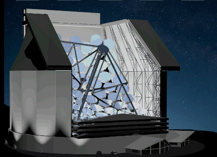 Artistic rendering of the Colossus telescope, a 77m wide telescope capable of detecting the near-infrared light resulting from a technologically advanced civilization living on an exoplanet located at 60 light-years. (c) http://www.innovativeoptics.ca/