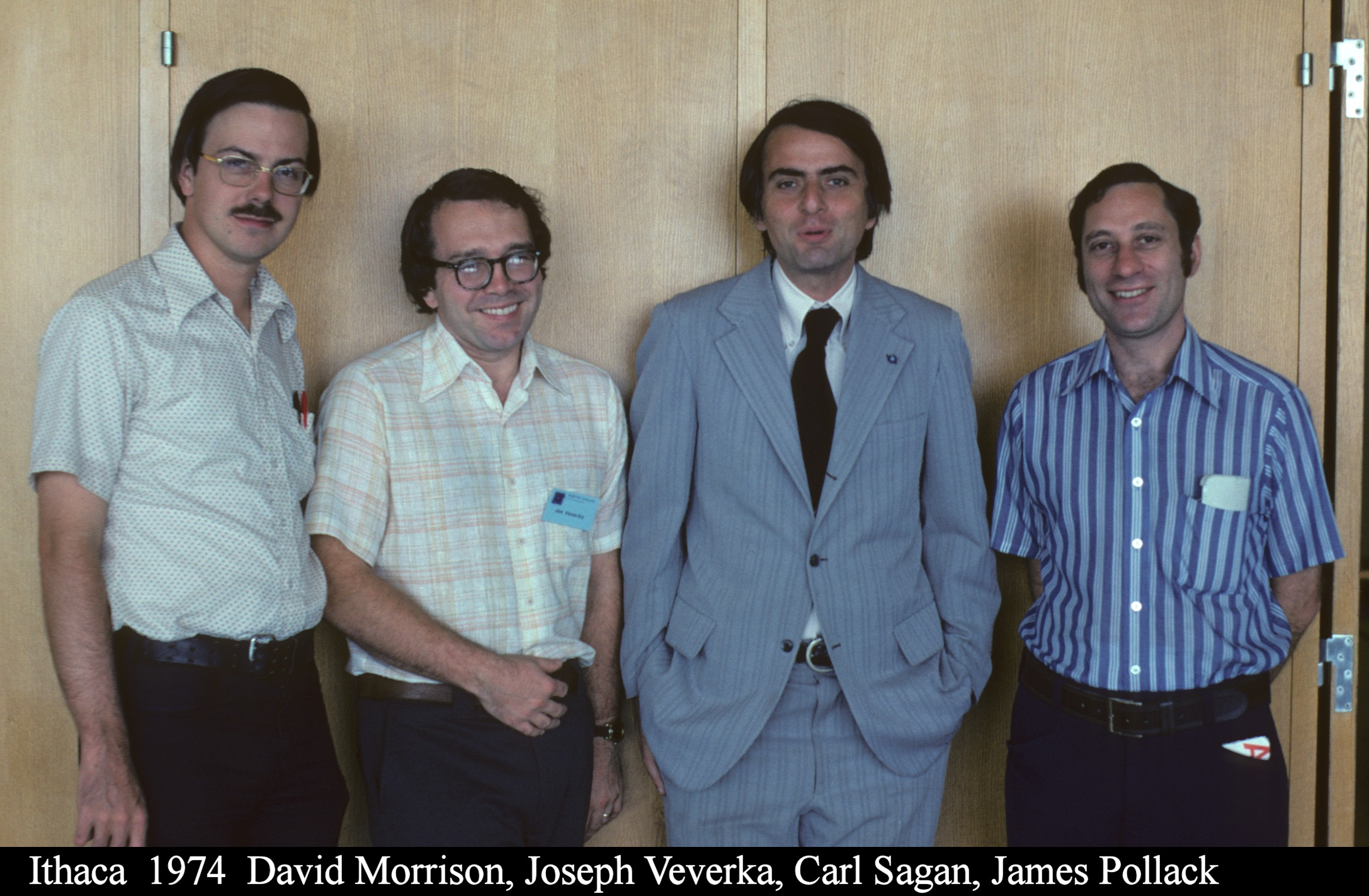 Carl Sagan (third from left) with three of his former students: David Morrison, Joseph Veverka, and James Pollack. Photo by David Morrison