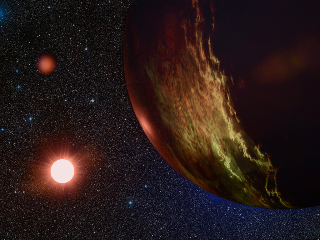 Tidally locked planet around an M-type star (credit: Seth Shostak/SETI Institute)