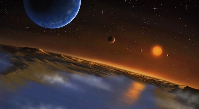 Artist concept of the planetary system Kepler 62. Image credit: Danielle Futselaar - SETI Institute