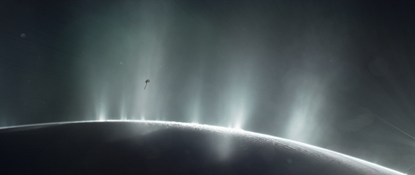 This illustration shows Cassini diving through the Enceladus plume in 2015. Credits: NASA/JPL-Caltech