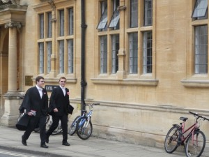 Students going to the House of Exams in Oxford
