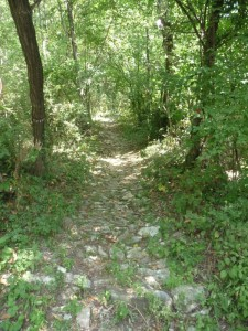The stone paved path that leads to the top of Faet.