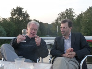Wolfgang Hillebrandt (left) and Paolo Mazzali (right) during the conference boat trip