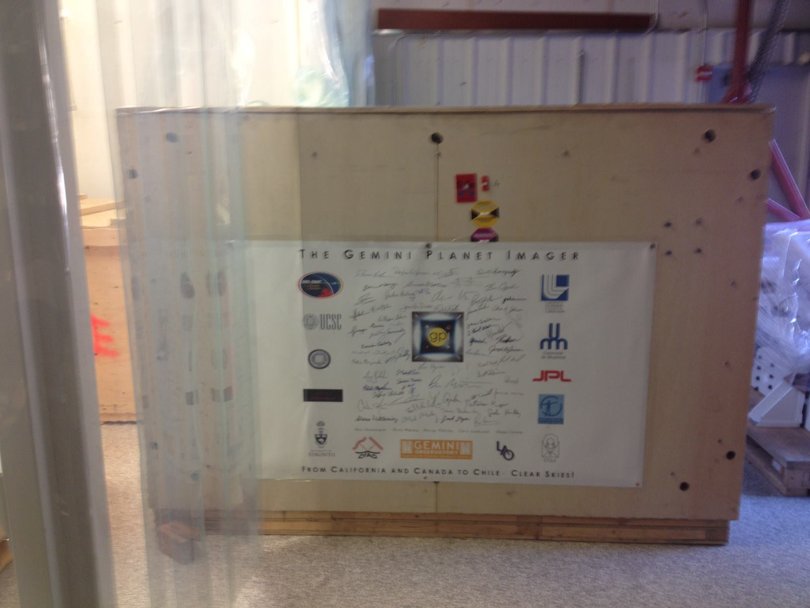 Signed crate with ~100 signatures from the entire GPI team.