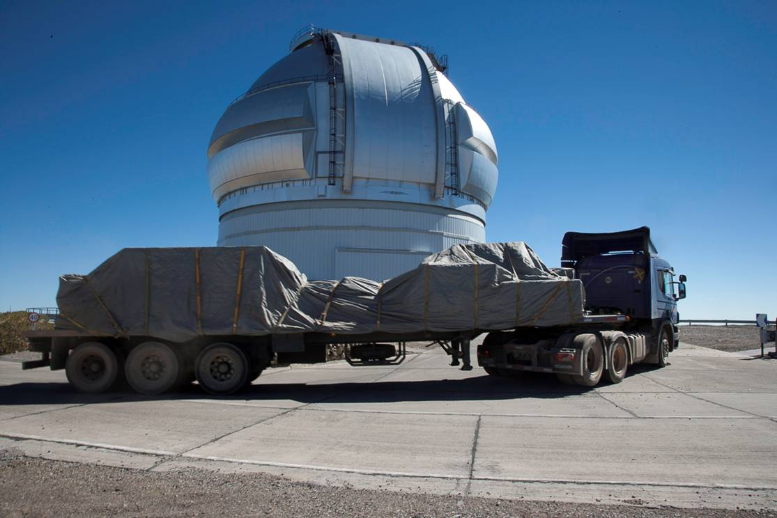 Special delivery for the Gemini South Telescope: a 2-ton planet imager called GPI (credit: Stephen Goodsell and Gaston Gausachs)