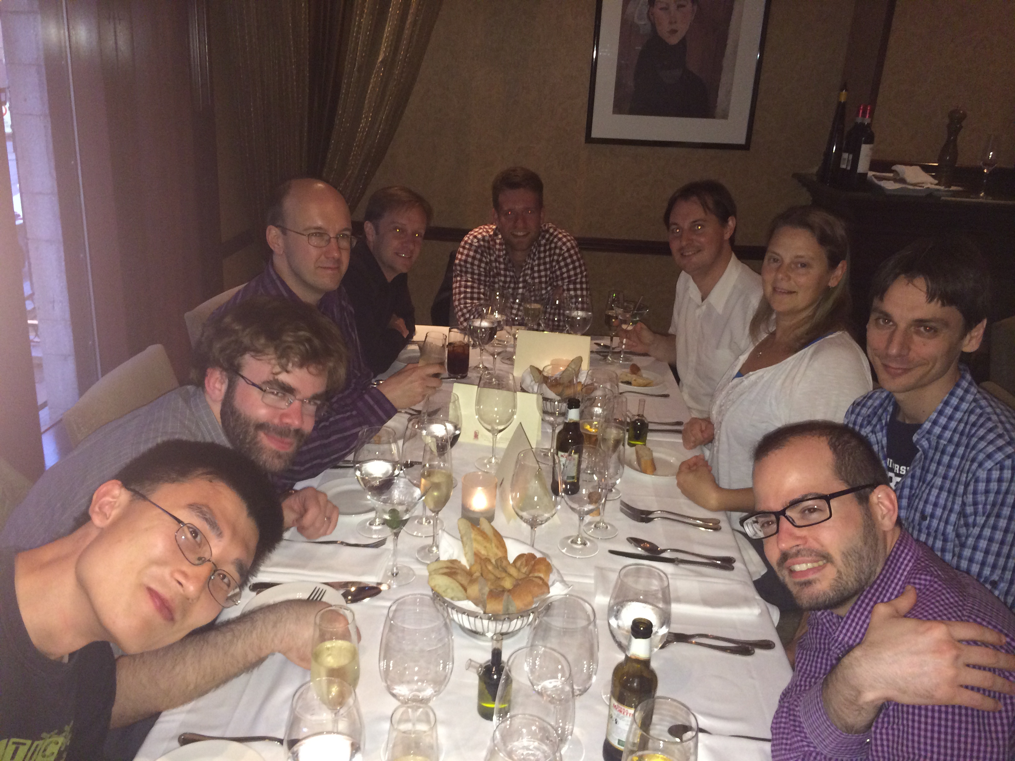 GPI dinner table: Jason Wang, Dmitri Savransky, Bruce Macintosh, James Larkin, Max Millar-Blanchaer, Marshall Perrin, Schuyler Wolff, Jerome Maire, Mark Ammons