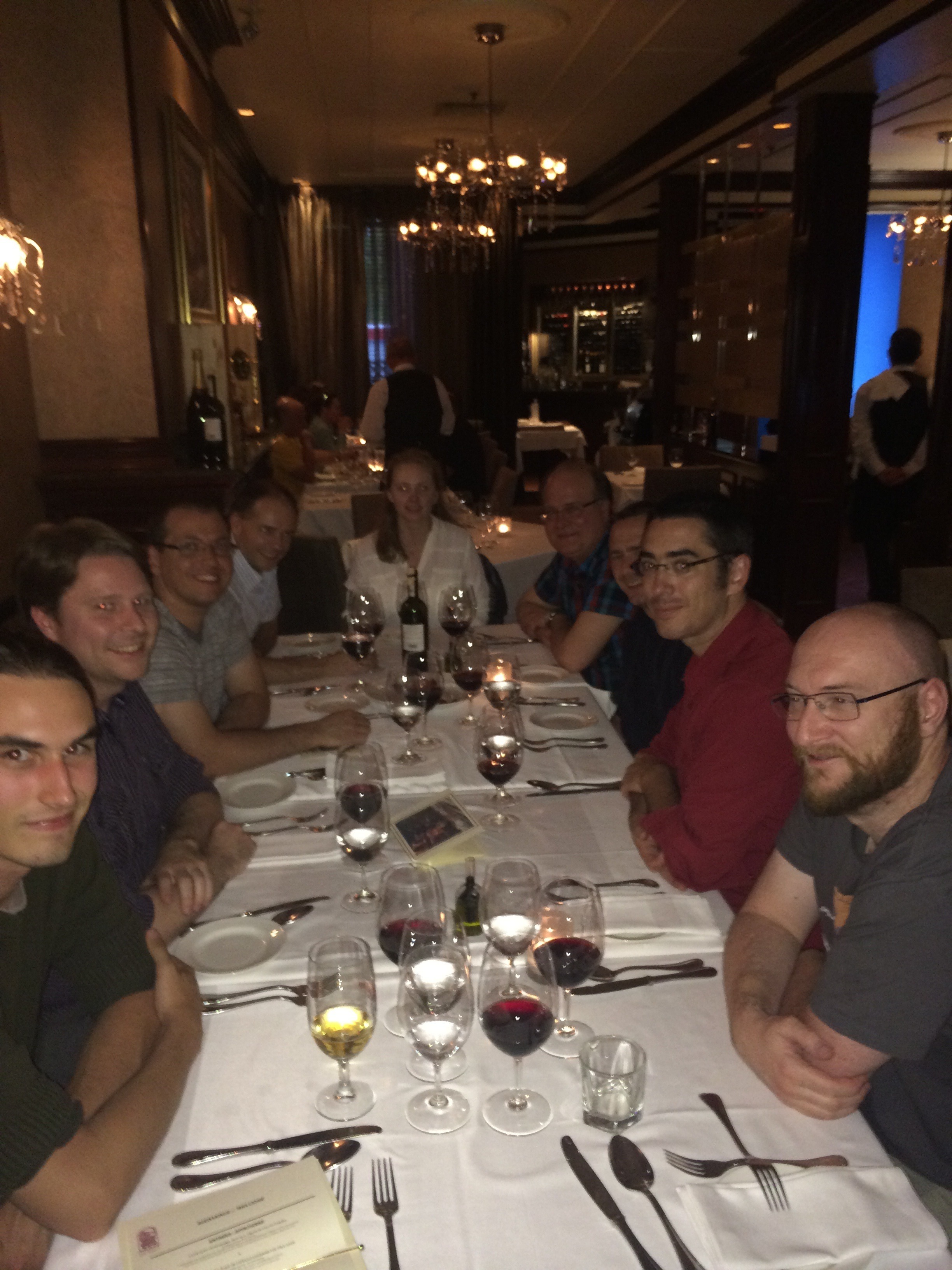 One of the GPI dinner tables: Zack Draper, Christian Marois, Markus Hartung, Schuyler Wolff, Fredrik, Stephen Goodsell, Etienne Artigau