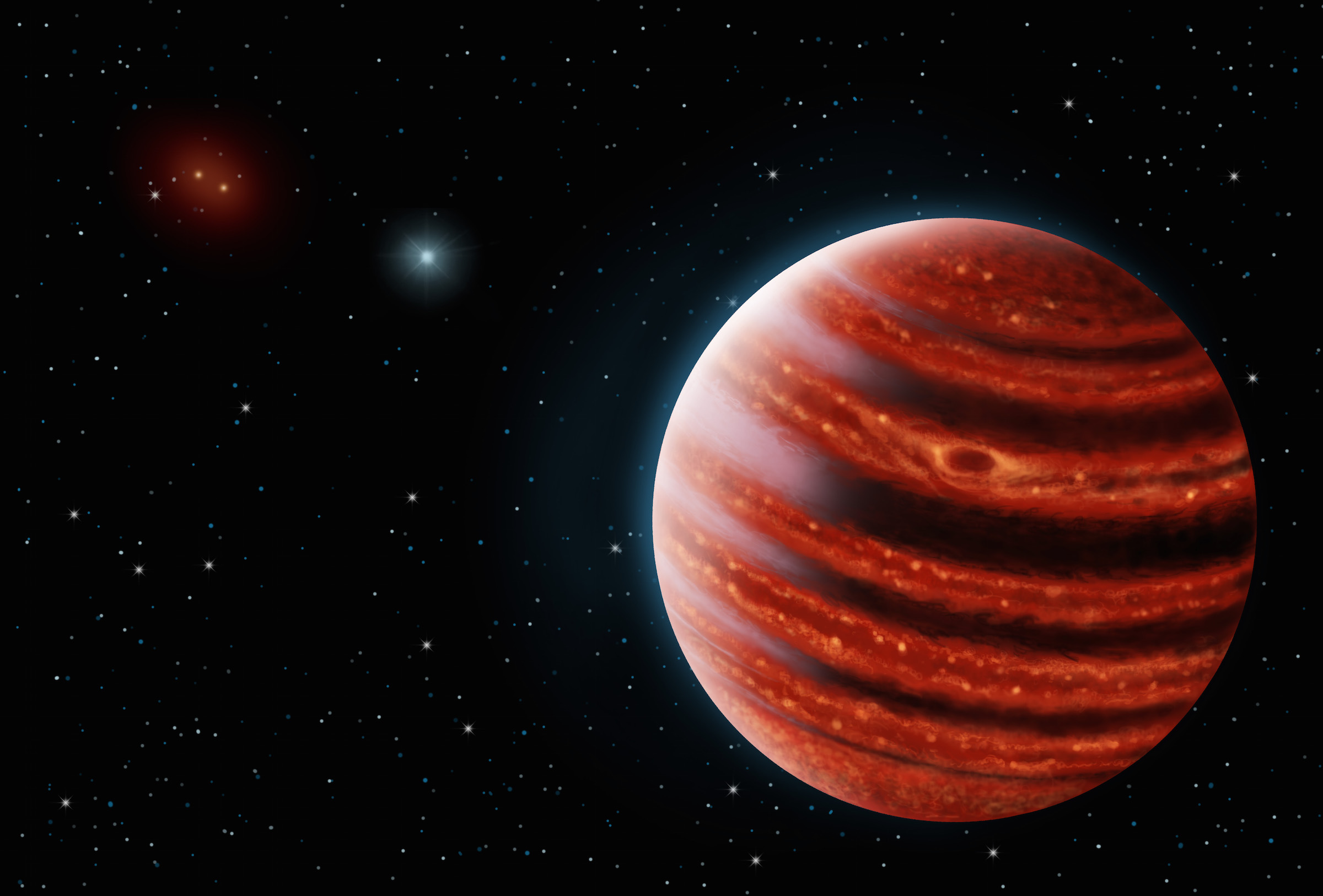 This rendering shows a possible view of a young Jupiter-like planet, 51 Eri b.  It is glowing in thermal emission and shown as being partly cloudy.