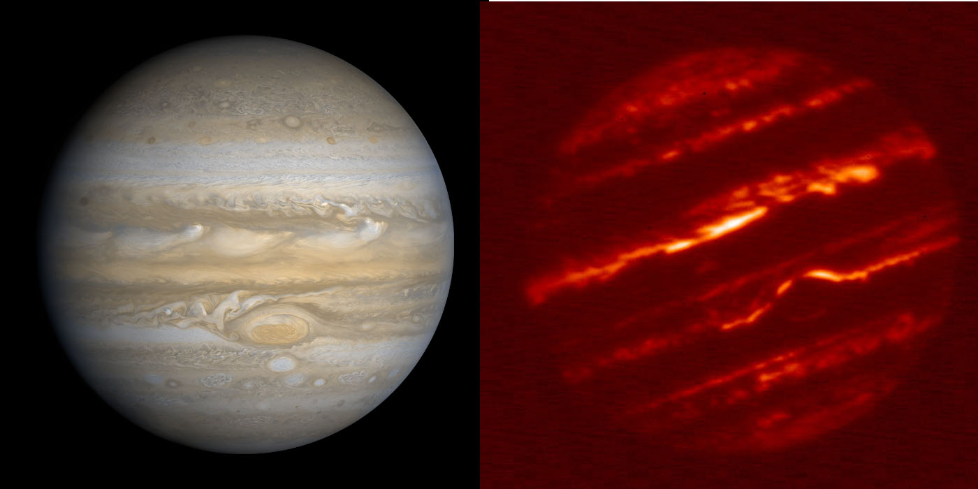 [left] Jupiter as it appears to our eyes, in reflected sunlight. [right] Jupiter as it appears at a wavelength of 5 microns.  These long wavelengths are far beyond visible light, in the thermal infrared.