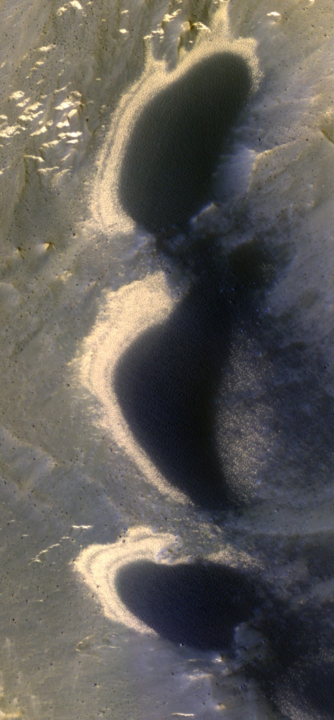 Dune trails deep in Hebes Chasma, Mars