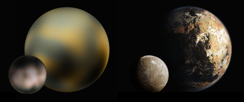 Pluto and Charon, before and after