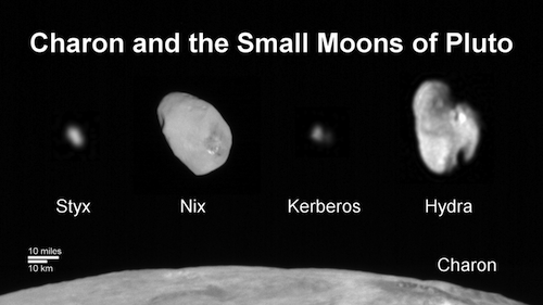 Family portrait of Pluto's four small moons