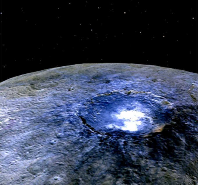 NASA's Dawn spacecraft found that bright spots on dwarf planet Ceres are most likely salt deposits. (Photo: Twitter/EdmundoCalero)
