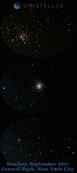 Observations of M11 (the Wild Duck Cluster), M13 (the Hercules Globular Cluster) and M57 (the Ring Nebula) from Central Park, New York City using the Unistellar eVscope prototype (credits: F. Marchis, Unistellar)